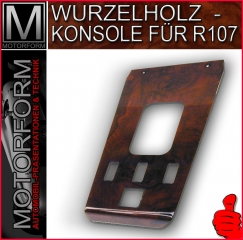 Wooden shift console in burl walnut for Mercedes SL 107