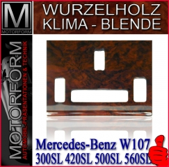 Wooden AC console in burl walnut for Mercedes SL 107
