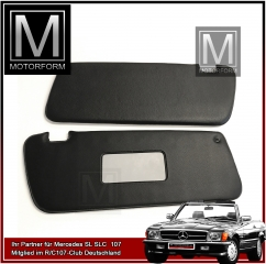 2 pieces sunvisor set black for Mercedes SL 107