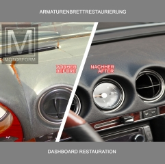 Mercedes 107-series dashboard restauration renovation