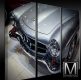 Mercedes 190SL W121 Roadster 3-pieces Canvas Print - framed