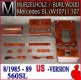 Burl walnut wood set for US - Mercedes SL 107 - 11 pieces